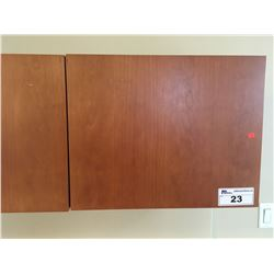 CHERRY 4 DOOR WALL MOUNT STORAGE CABINET