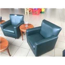 PAIR OF DARK GREEN LEATHER RECEPTION CHAIRS