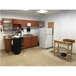 CONTENTS OF LUNCH ROOM, FRIDGE, SMALL DISHWASHER, WATERCOOLER, 6 BLACK CHAIRS AND 1 WOODEN TABLE
