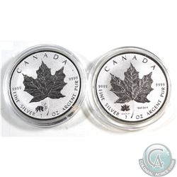 Pair of 2017 Canada $5 1oz. .999 Fine Silver Maple Leafs - Panda Privy & Canada 150th Privy (Tax Exe