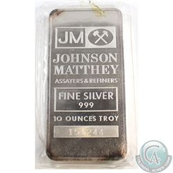 Vintage 10oz Johnson Matthey United States 10oz Fine Silver Bar with JM Logo (Tax Exempt). Bar is to