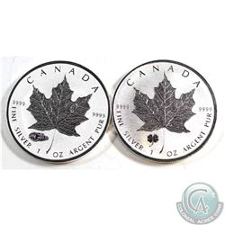 Pair of 2016 Canada $5 Privy Silver Maple Leafs (Tax Exempt). You will receive the Four-Leaf Clover,