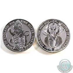 Pair of 2016-2017 Great Britain 2oz Queen's Beasts Fine Silver Coins (TAX Exempt). You will receive