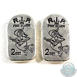 2x 2oz Monarch Precious Metals - Limited Edition Tombstone Witch 2oz. Silver. Bar # 246 & 247 (Tax E