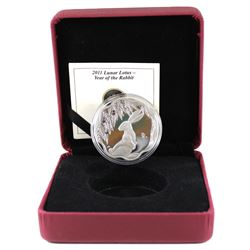 RCM Issue: 2011 Canada $15 Lunar Lotus Year of the Rabbit Sterling Silver Coin in RCM Display Box wi