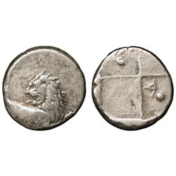 THRACE: Chersonesos, AR Hemidrachm (2.33g), 386-338 BC. Forepart of lion with head turned back, reve