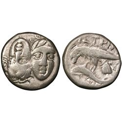 MOESIA: Istros, AR Drachm (4.87g), 400-350 BC. Two male heads side by side, one inverted, reverse ea