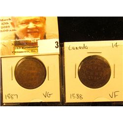 Lot of Canada Large Cents: 1887 VG & 1888 VF.