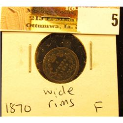 1870 wide rims Canada Five Cent Silver, Fine.