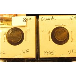 Lot of Canada Five Cents Silvers: 1902 & 1905 both grading VF.