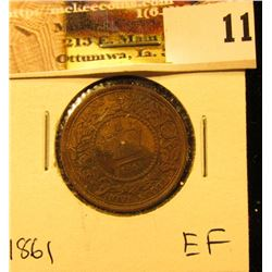 1861 Nova Scotia Large Cent, EF.