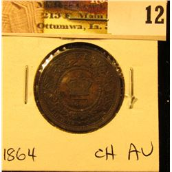 1864 New Brunswick Large Cent, Choice AU.
