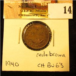 1940 Newfoundland Cent, Choice BU 63, mostly brown.
