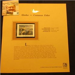 2000 Millenium Alaska $5 State Migratory Waterfowl Stamp, mounted in a plastic page with literature