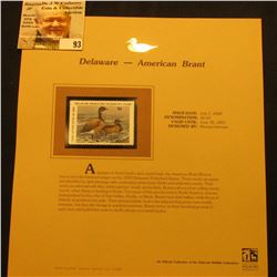 2000 Millenium Delaware $6.00 State Migratory Waterfowl Stamp, mounted in a plastic page with litera