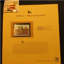 2000 Millenium Indiana $6.75 State Migratory Waterfowl Stamp, mounted in a plastic page with literat