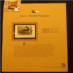 2000 Millenium Iowa $5.50 State Migratory Waterfowl Stamp, mounted in a plastic page with literature