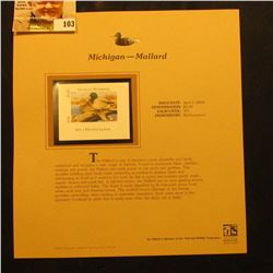 2000 Millenium Michigan $5.00 State Migratory Waterfowl Stamp, mounted in a plastic page with litera