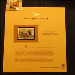 2000 Millenium Mississippi $5.00 State Migratory Waterfowl Stamp, mounted in a plastic page with lit