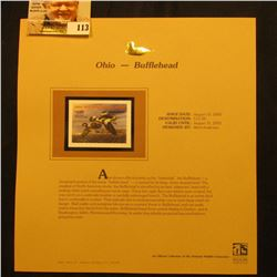 2000 Millenium Ohio $11.00 State Migratory Waterfowl Stamp, mounted in a plastic page with literatur