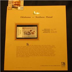 2000 Millenium Oklahoma $4.00 State Migratory Waterfowl Stamp, mounted in a plastic page with litera