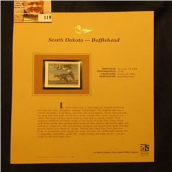 2000 Millenium South Dakota $3.00 State Migratory Waterfowl Stamp, mounted in a plastic page with li