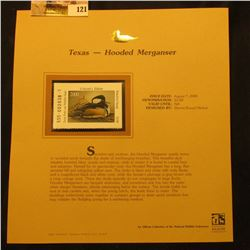 2000 Millenium Texas $3.00 State Migratory Waterfowl Stamp, mounted in a plastic page with literatur
