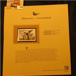 2000 Millenium Wisconsin $7.00 State Migratory Waterfowl Stamp, mounted in a plastic page with liter
