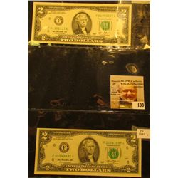Pair of $2.00 Series 2013 Federal Reserve Notes, Friedberg #1940F & 1940F*, one is a Rare Star repla