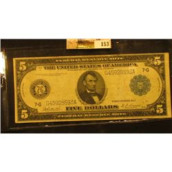 """Series 1914 with Blue Seal Five Dollar Federal Reserve Note """"Chicago, Illinois"""", Friedberg # 870, S/"""