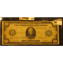"""Series 1914 with Blue Seal Ten Dollar Federal Reserve Note """"New York, New York"""", Friedberg # 911b, S"""