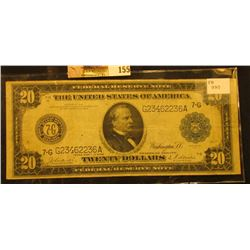 """Series 1914 with Blue Seal Twenty Dollar Federal Reserve Note """"Chicago, Illinois"""", Friedberg # 990,"""