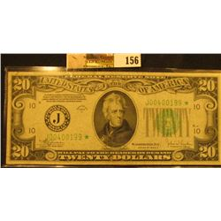 """Series 1934C $20 Federal Reserve Star Replacement Note, """"Kansas City, Missouri"""", S/N J00400199*, VF."""