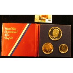 1776-1976 S United States Bicentennial Silver Three-Piece Proof Set in felt, red, white, and blue ca