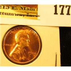 1946 P Lincoln Cent, Red Gem BU.