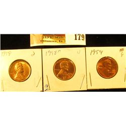 1954 P, 58 P, & 58 D Lincoln Cents, Red Gem BU.