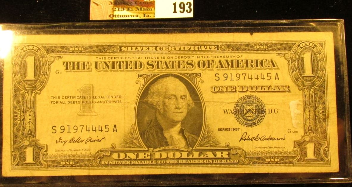 Series 1957 U.S. One Dollar Silver Certificate. Circulated.