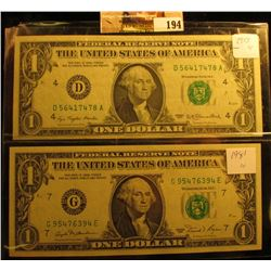 Series 1977 & 1981 One Dollar Federal Reserve Notes, CU.