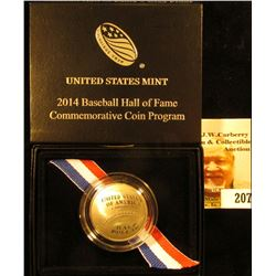 2014 S National Baseball Hall of Fame Proof Half-Dollar in original box with literature as issued.