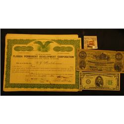 "Several letters of correspondence with a 1926 Stock Certificate for Two Shares ""Florida Permanent De"
