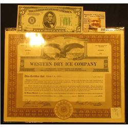 "March, 1929 Number 11 Stock Certificate for 25 Shares of ""Western Dry Ice Company"", upper, central v"