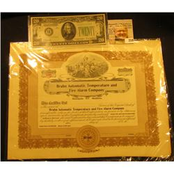 "Unissued Stock Certificate ""Bruhn Automatic Temperature and Fire Alarm Company Minneapolis, Minnesot"