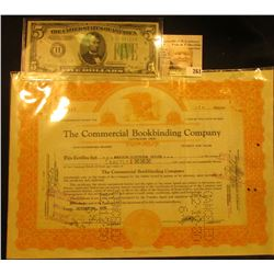 "Oct. 14, 1930 One Share Stock ""The Commercial Bookbinding Company Cleveland, Ohio"", hole cancelled;"
