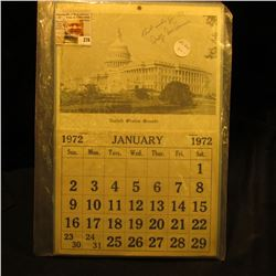 1972 United States Senate Calendar autographed by George Stanley McGovern (July 19, 1922 – October 2