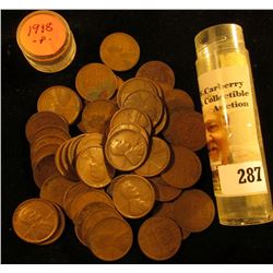 Roll of (54) 1918 U.S. Lincoln Cents in a plastic coin tube.