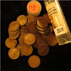 Roll of (54) 1918 S U.S. Lincoln Cents in a plastic coin tube.