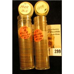 Approximately (75) 1928 P, D, & S Lincoln Cents in a pair of plastic tubes.