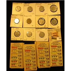 Large group of EZ Pickin Gambling Tickets; and a group of North & South Dakota Tokens.