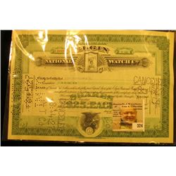 "One Share Stock Certificate dated July 27, 1927 from ""Elgin National Watch Company"". Hole cancelled"