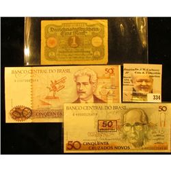 (2) Different 50 Cruzados from the Central Bank of Brazil; & 1920 German One Mark Banknote.